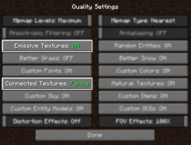 Configuración de OptiFine - Visible Ores